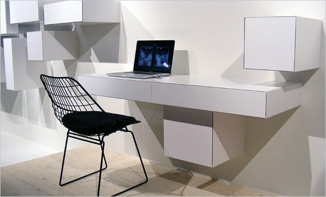 moderne woonkamer met trendy bureau